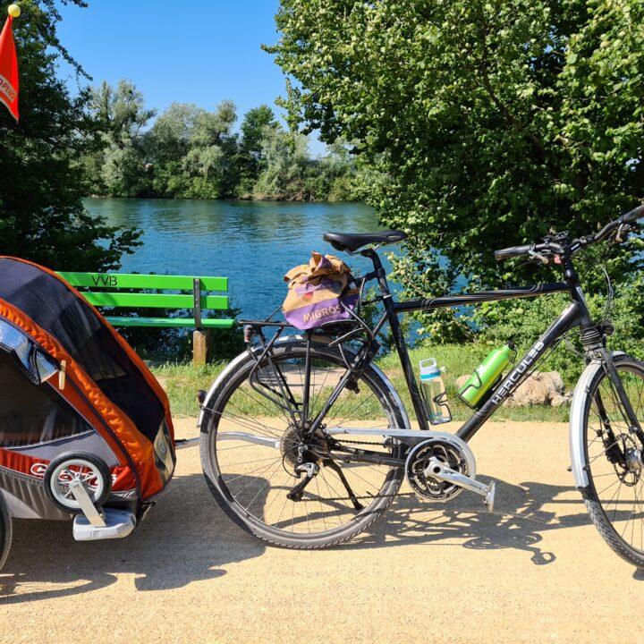 Rimorchietto da bici con bambini e bicicletta davanti alla riva dell'Aare, con un braciere e una panchina