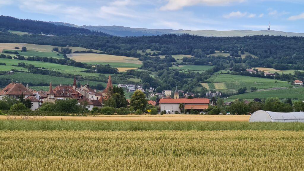 Familienvelotour Seeland: Das Städtchen le Landeron am Fusse des Juras vor dem Chasseral, dem höchsten Berg des Juragebirges