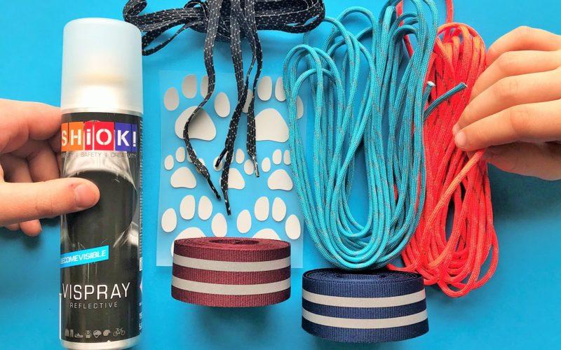 reflektierende Aufbügeln Hundepfotenabdruck, graue Sprühfarbe, SCHNUR, PARACORD blau orange, DIY, Do-it-yourself, Projekt für Kinder