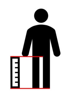 Piktogramm eines Mannes mit einem Messstab.
